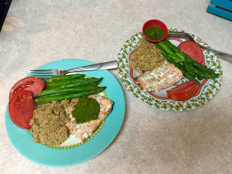 salmon with homemade kale-atichoke heart pesto / herb quinoa / steamed asparagus / Grainger Co. tomato