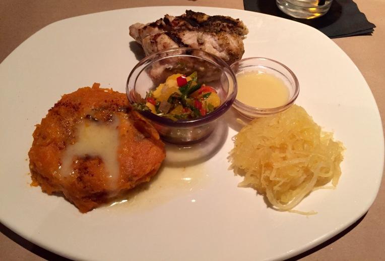 My entrée: snapper with mango salsa / spaghetti squash / mashed sweet potato / house salad not photgographed